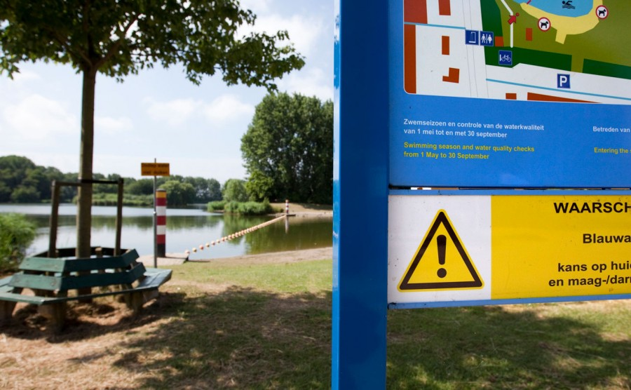 zwemwater in een recreatiegebied met een waarschuwingsbord voor blauwalg